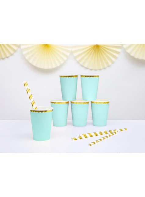 6 vasos verde menta pastel con borde dorado de papel - Yummy - para niños y adultos