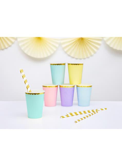 6 vasos verde menta pastel con borde dorado de papel - Yummy - original