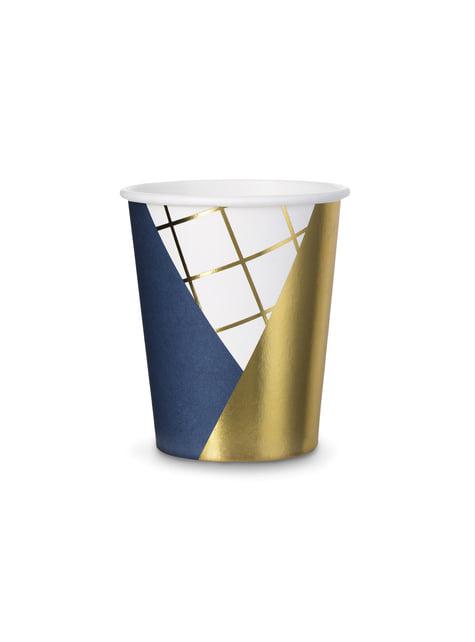 6 vasos estampado geométrico azul oscuro y dorado de papel para nochevieja - Happy New Year Collection