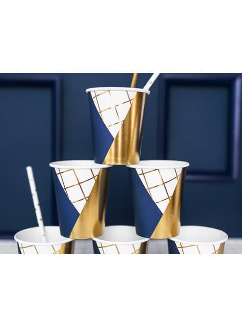 6 vasos estampado geométrico azul oscuro y dorado de papel para nochevieja - Happy New Year Collection - para tus fiestas