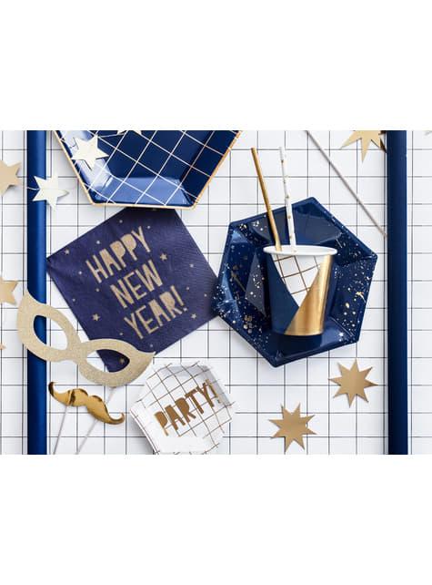 6 vasos estampado geométrico azul oscuro y dorado de papel para nochevieja - Happy New Year Collection - barato