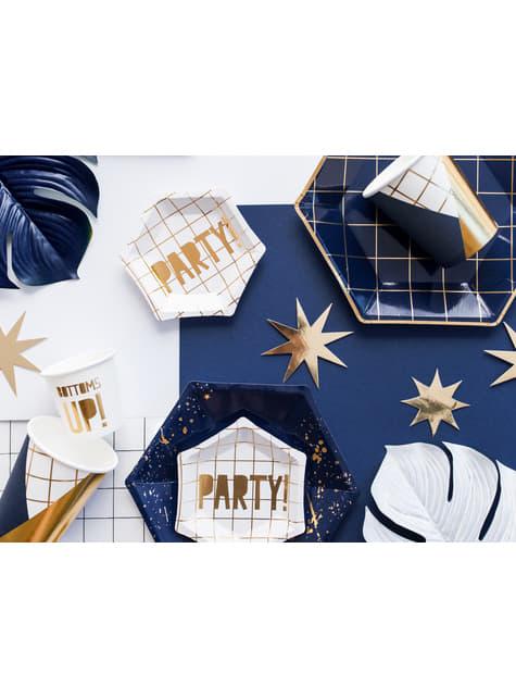 6 vasos estampado geométrico azul oscuro y dorado de papel para nochevieja - Happy New Year Collection - comprar