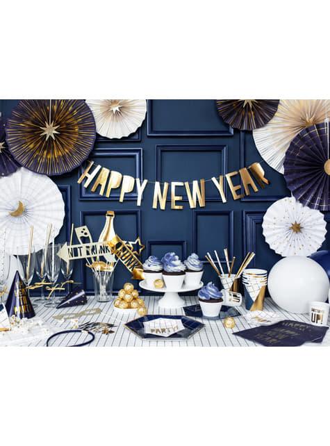 6 vasos estampado geométrico azul oscuro y dorado de papel para nochevieja - Happy New Year Collection - original