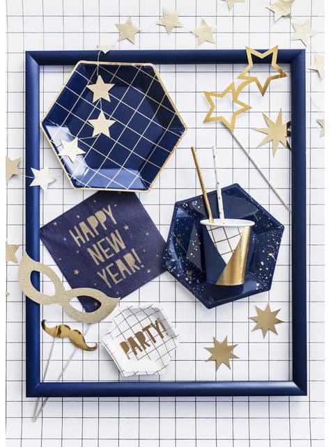6 vasos estampado geométrico azul oscuro y dorado de papel para nochevieja - Happy New Year Collection - para decorar todo duran