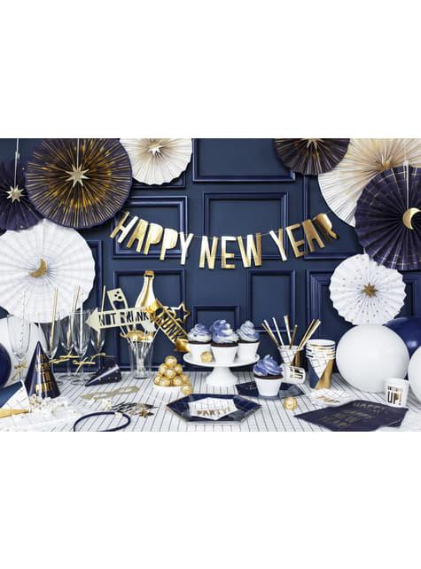 6 vasos estampado geométrico azul oscuro y dorado de papel para nochevieja - Happy New Year Collection - el más divertido