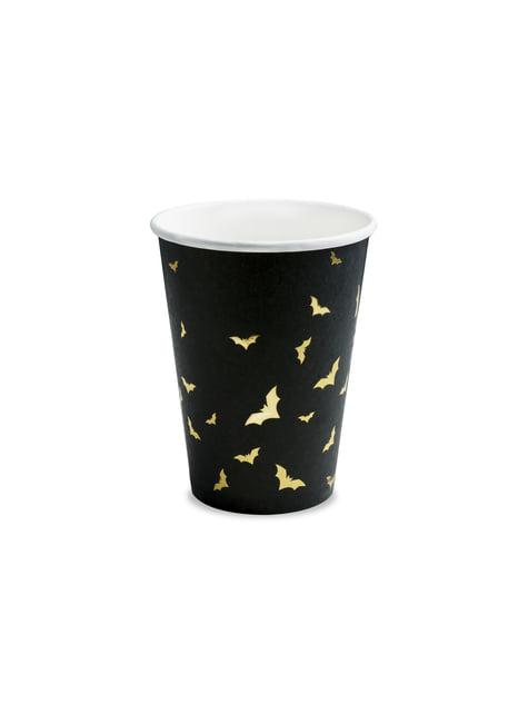 6 vasos negros con murciélagos dorados de papel - Trick or Treat Collection