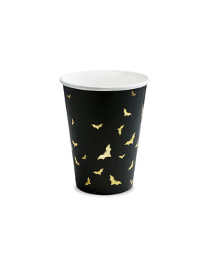 6 vasos negros con murciélagos dorados de papel - Trick or Treat Collection