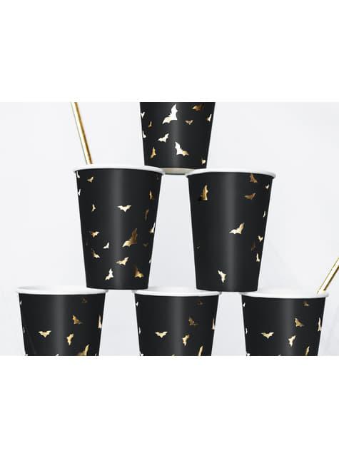 6 vasos negros con murciélagos dorados de papel - Trick or Treat Collection - para tus fiestas