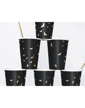6 zwarte papieren bekers met gouden vleermuizen - Trick or Treat Collectie