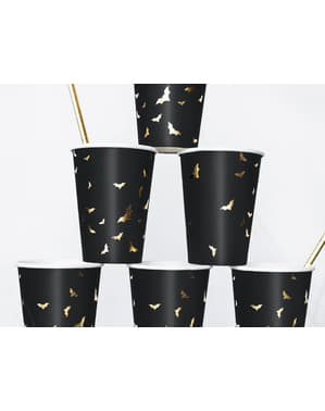 Sett med 6 Svarte Pappkopper med Gull Flaggermuser - Trick or Treat Kolleksjon