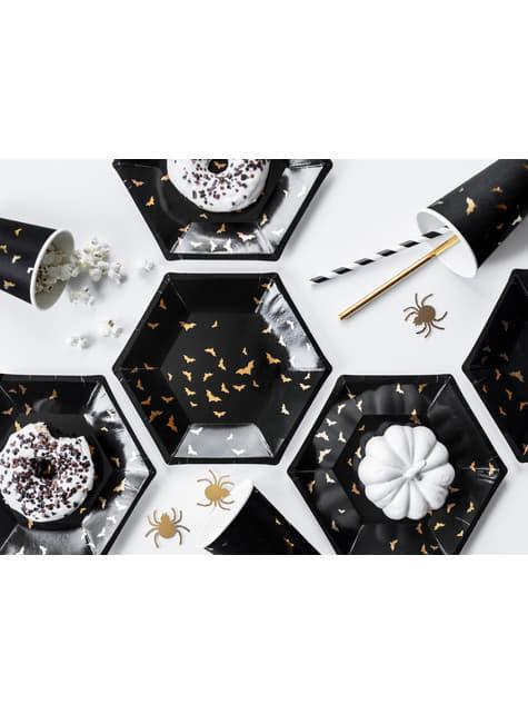 6 vasos negros con murciélagos dorados de papel - Trick or Treat Collection - comprar