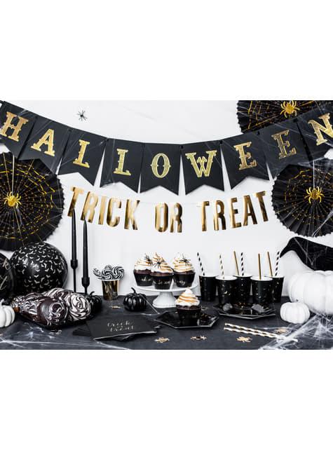 6 vasos negros con murciélagos dorados de papel - Trick or Treat Collection - para niños y adultos