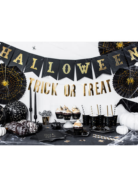 Conjunto de 6 copos pretos com morcegos dourados de papel - Trick or Treat Collection