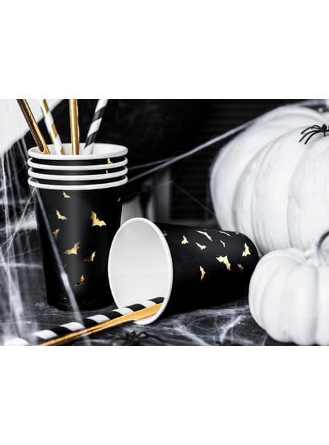 6 vasos negros con murciélagos dorados de papel - Trick or Treat Collection - original