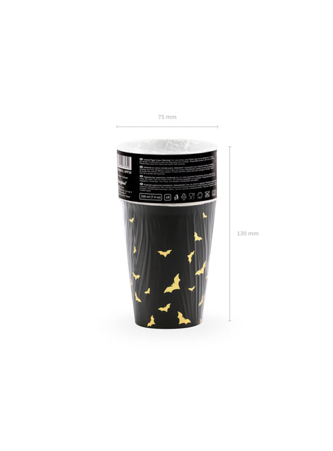 6 vasos negros con murciélagos dorados de papel - Trick or Treat Collection - para decorar todo durante tu fiesta