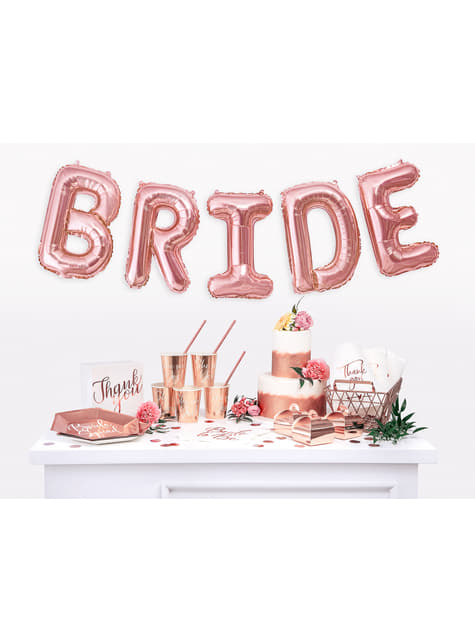 6 bicchieri 'She said yes' oro rosa di carta - Rose Gold Bride To Be