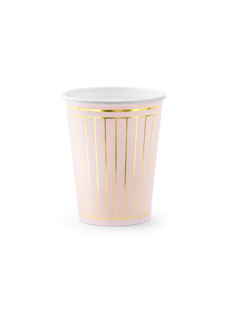 6 vasos rosa pastel con rayas doradas de papel