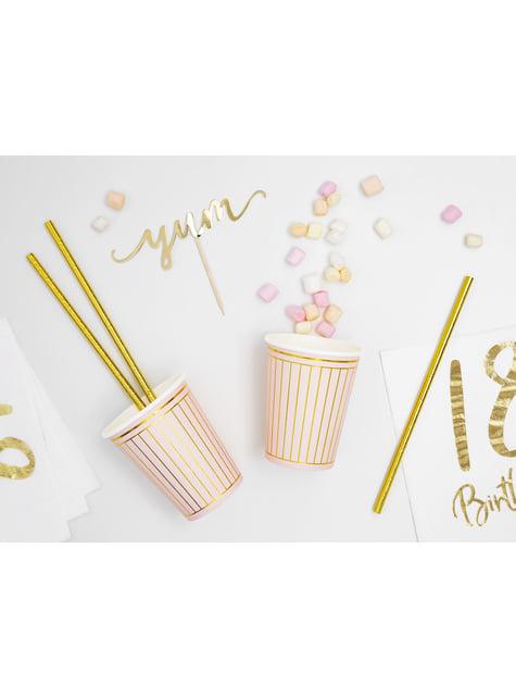 6 vasos rosa pastel con rayas doradas de papel - para tus fiestas