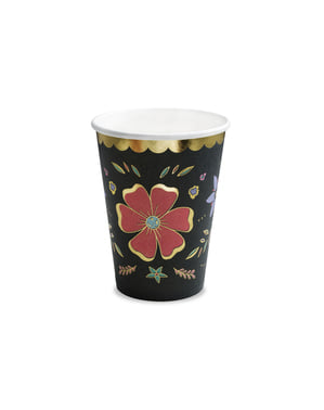 6 vasos negros con estampado de flores multicolor de papel - Dia de Los Muertos Collection
