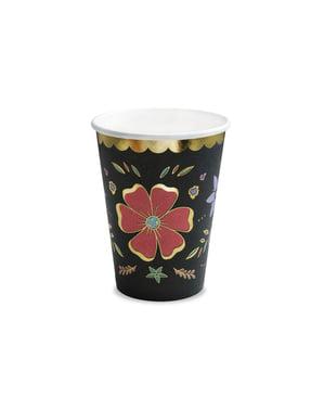 Sett med 6 Svarte Pappkopper med Flerfarget Blomster - Dia de Los Muertos Kolleksjon
