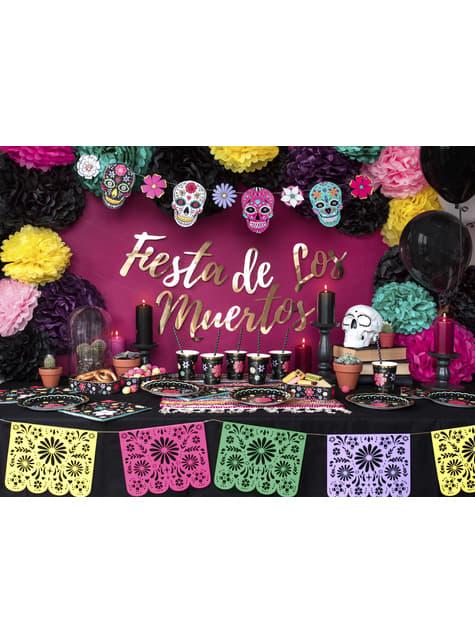 6 vasos negros con estampado de flores multicolor de papel - Dia de Los Muertos Collection - para tus fiestas