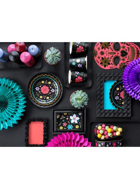 6 vasos negros con estampado de flores multicolor de papel - Dia de Los Muertos Collection - original
