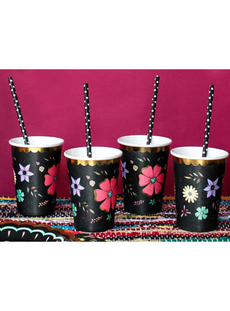 6 vasos negros con estampado de flores multicolor de papel - Dia de Los Muertos Collection - el más divertido