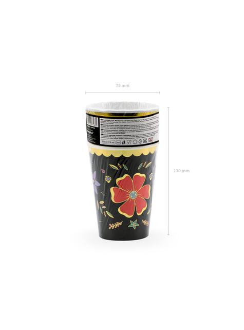 6 vasos negros con estampado de flores multicolor de papel - Dia de Los Muertos Collection - celebra cualquier ocasión