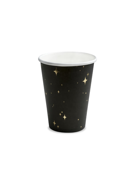 6 vasos negros con estrellas doradas de papel - New Year's Eve Collection