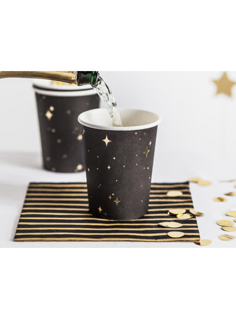 6 vasos negros con estrellas doradas de papel - New Year's Eve Collection - para tus fiestas