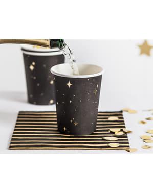 Sett med 6 Svarte Pappkopper med Gullstjerner - New Year's Eve Kolleksjon