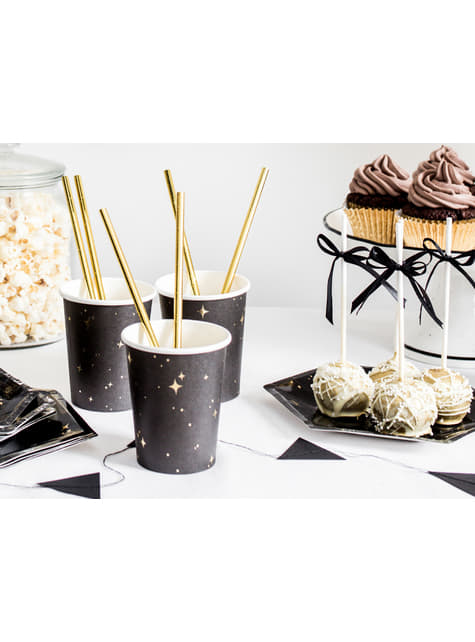 6 vasos negros con estrellas doradas de papel - New Year's Eve Collection - barato