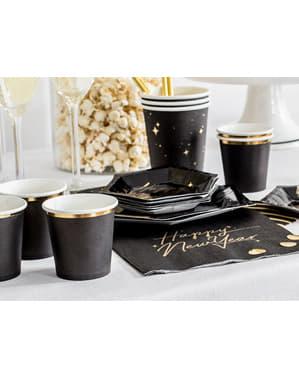 6 vasos negros con borde dorado de papel - New Year's Eve Collection