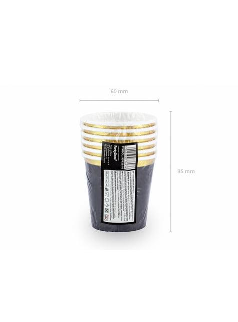 6 vasos negros con borde dorado de papel - New Year's Eve Collection - para niños y adultos