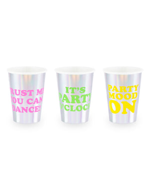 6 Holographic Paper Cups with Assorted Text - Electric Holo