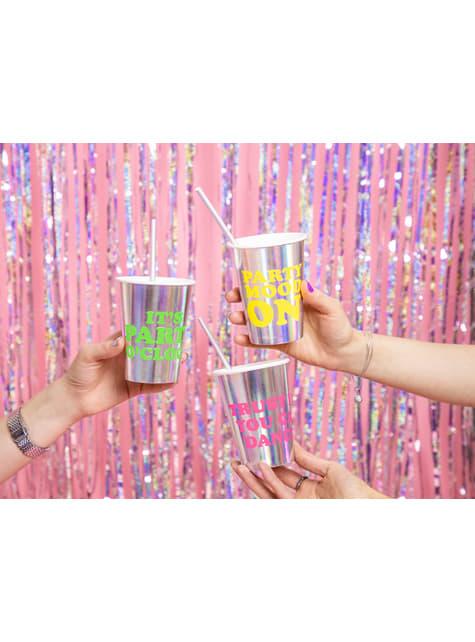 6 vasos holográficos con texto variado de papel - Electric Holo - para decorar todo durante tu fiesta