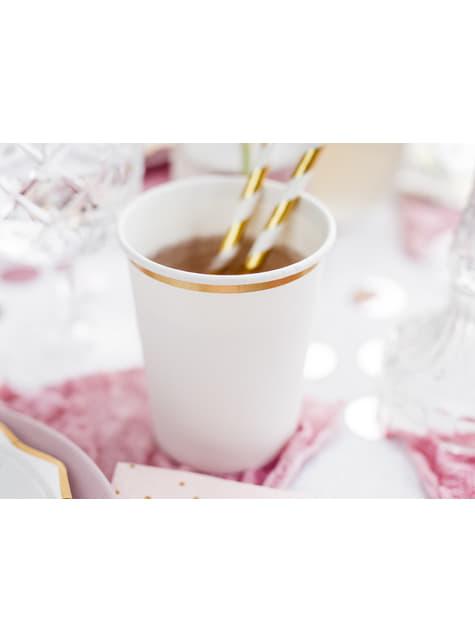 6 vasos blancos con borde dorado de papel - First Communion - para tus fiestas