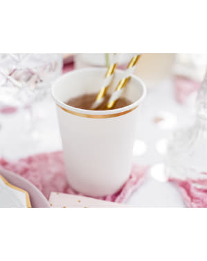6 White Paper Cups with Gold Rim - First Communion