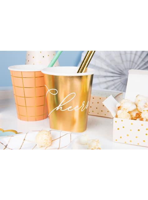 6 bicchieri dorati 'Cheers' di carta - Gold Bridal Shower