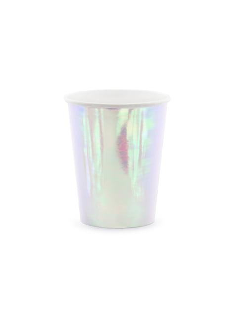 6 vasos rosa iridiscente de papel - Iridescent