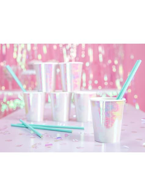6 vasos rosa iridiscente de papel - Iridescent - para tus fiestas