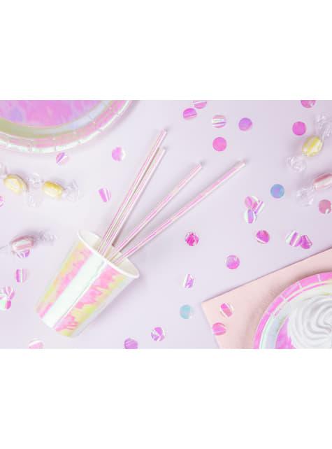 6 vasos rosa iridiscente de papel - Iridescent - barato
