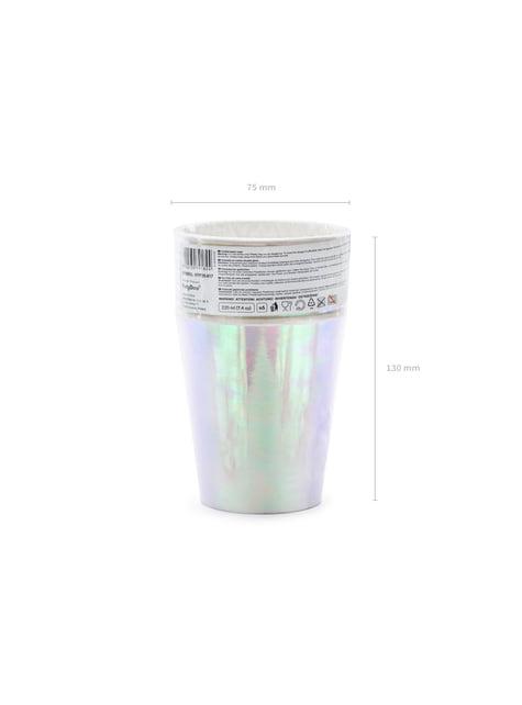 6 vasos rosa iridiscente de papel - Iridescent - para niños y adultos