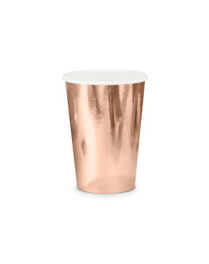 6 vasos oro rosa de papel