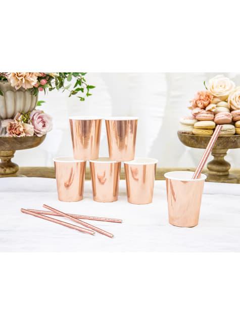 Conjunto de 6 copos ouro rosa de papel