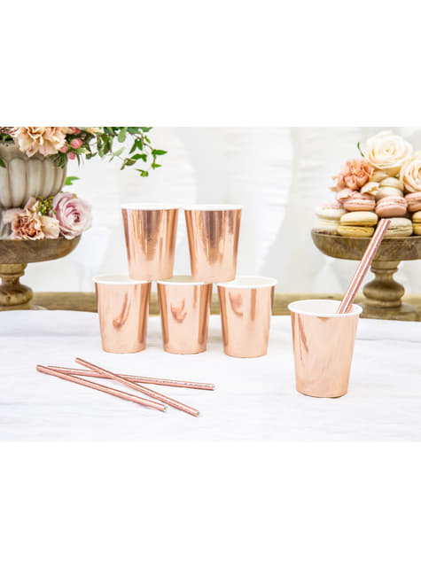 6 Rose Gold Paper Cups