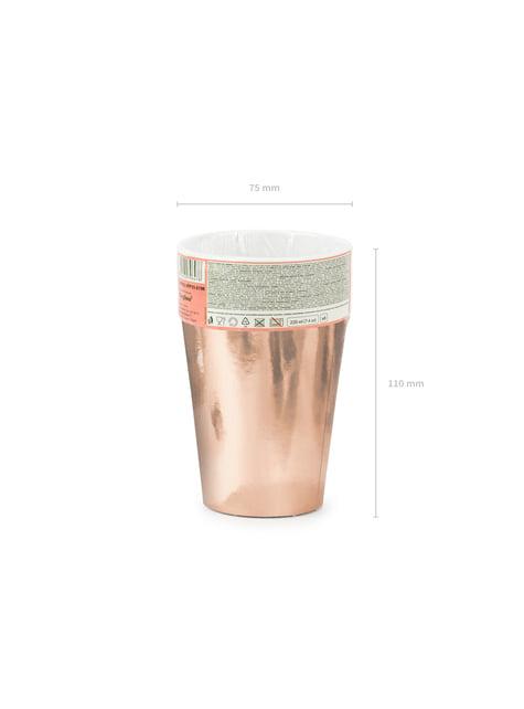 6 vasos oro rosa de papel - decoración de fiesta