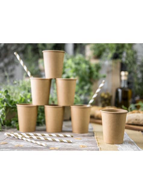 6 vasos de papel Kraft - para tus fiestas