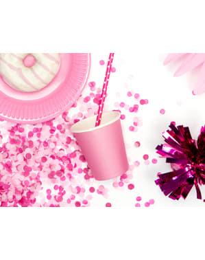 Комплект от 6 розови хартиени чашки - колекция сладки