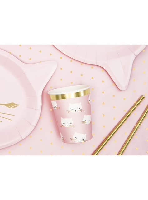 Set of 6 Kitty Paper Cups, Pastel Pink - Meow Party